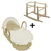 Beautiful Broderie Anglaise Moses Basket And Natural Rocking Stand Cream