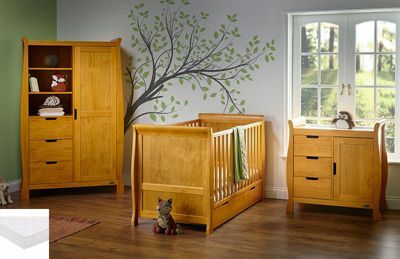 Obaby Stamford Cot Bed 4 Piece Pocket Sprung mattress Nursery Room Set - Country Pine