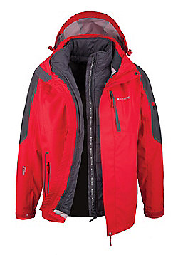 Zenith Mens 3 In 1 Waterproof Breathable Detachable Inner Coat Jacket - Red