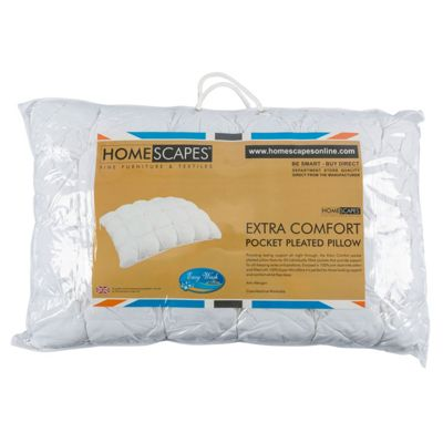 Homescapes Extra Deep Pleated Microfibre Filled 24 Pocket Pillow - Firm