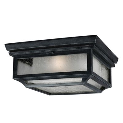 Dark Weathered Zinc 2lt Flush Mount - 2 x 75W E27