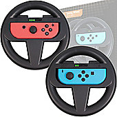 Orzly Steering Wheels for Nintendo Switch - Twin Pack (BLACK)