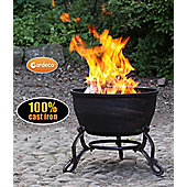 ELIDIR cast iron fire pit and BBQ with decorative scroll legs