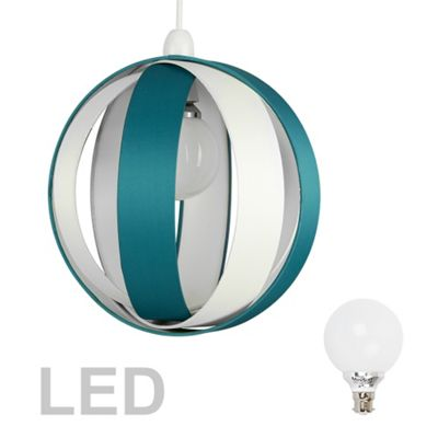 J90 Globe LED Ceiling Pendant Light Shade, Teal & Cream & Décor Bulb
