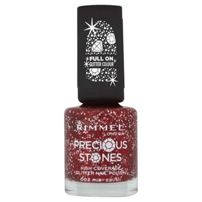 Rimmel London Precious Stones High Coverage Glitter Nail Polish 002 Ruby Crush 8ml