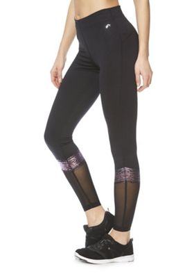 F&F Active Foil Stripe Panel Leggings Black M