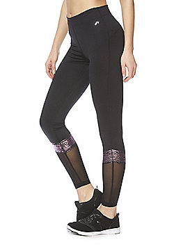 F&F Active Foil Stripe Panel Leggings - Black