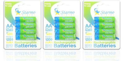 12 x Starmo AA MN1500 1200mAh HR6/1.2V Rechargeable Batteries