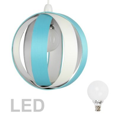 J90 Globe LED Ceiling Pendant Light Shade, Duck Egg Blue & Cream & Décor Bulb