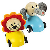 Bigjigs Toys Pull Back Racing Animal (Pack of 2 - Blue and Yellow)