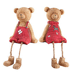Set of Two Cute Shelf Edge Sitting Christmas Bear Ornaments with Red Jumpers
