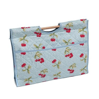 Hobby Gift Knit Craft Bag Cherry Spot on Light Blue