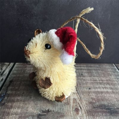 Bristle Mouse In Hat Christmas Tree Decoration- Pale