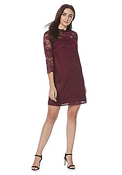 F&F High Neck Lace Swing Dress - Burgundy