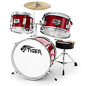 Tiger 3 Piece Junior Drum Kit - Drum Set for Kids in Red