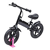 "Homcom 12"" Kids Learner Balance Bike Training Bicycle with Brake (Black)"