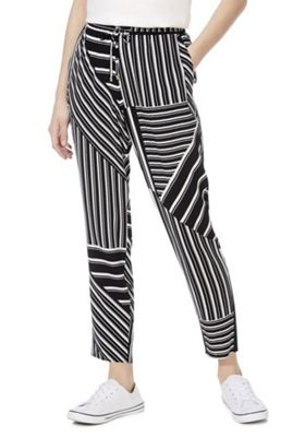 F&F Variegated Stripe Trousers Black/White 10