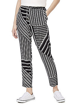 F&F Variegated Stripe Trousers - Black/White
