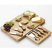 Occasion Large Rectangular Bamboo Cheese Serving Board with Integrated Knife Drawer and 4 Cheese Knives Set