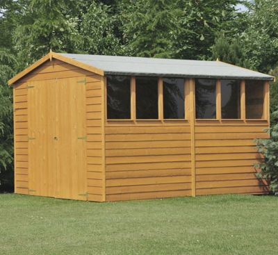 10X8 Shed In Overlap With Double Doors, Safety Glazing & Apex Roof By Finewood