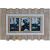Beach - Driftwood Effect Wall Mounted 3 Aperture Photo Frame - Brown / White