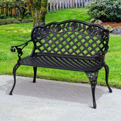 Outsunny 2 Seater Cast Aluminium Garden Bench Patio High Back Chair Armrest - Black