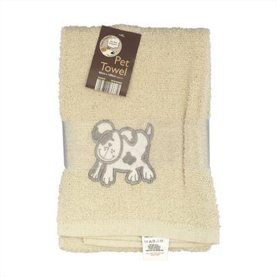 Country Club Pet Towel 60x120cm Cream Dog