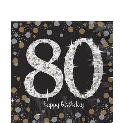 Sparkling Celebration Age 80 Lunch Napkins - 33cm