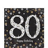 Sparkling Celebration Age 80 Lunch Napkins - 33cm