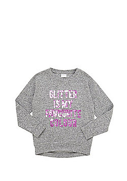 F&F Two-Way Sequin Slogan Knitted Sweatshirt - Grey