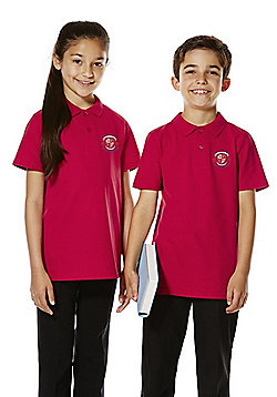 Unisex Embroidered School Polo Shirt - Red