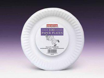 Caroline T1410 Paper Plates White 9In X100