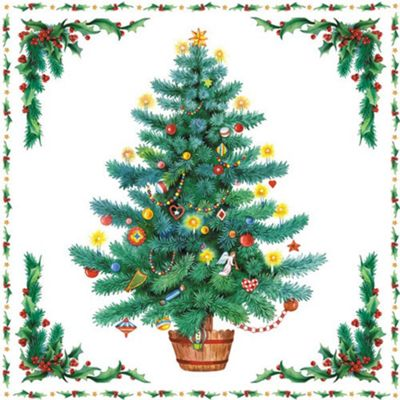 Ambiente 3 Ply Paper Lunch Napkins, Twinkling Tree