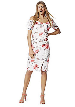 Feverfish Rose Print Bardot Dress - Pink