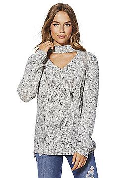 F&F Cable Knit Choker Jumper - Grey