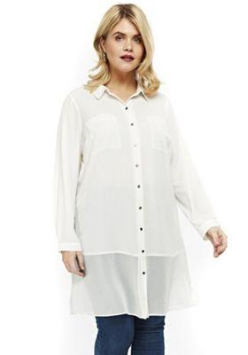 Evans Long Line Plus Size Shirt Ivory White 26