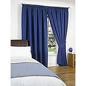 "Dreamscene Pair Thermal Blackout Pencil Pleat Curtains, Blue - 90"" x 90"" (228x228cm)"