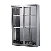 Homcom Stainless Steel Cupboard Bathroom Glass Cabinet 2 Shelves w/ Double Door 60Lx40Hx13D(cm)