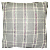Hamilton McBride Herringbone Check Knife Edge Cushion Cover 43x43cm - Silver