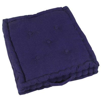 Homescapes Cotton Navy Blue Floor Cushion, 40 x 40 cm