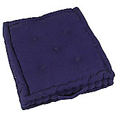 Homescapes Cotton Navy Blue Floor Cushion, 40 x 40 cm