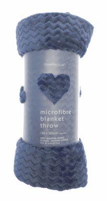 Country Club Chevron Microfibre Blanket Throw, 150 x 200cm, Blue
