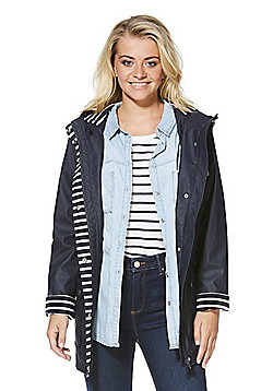 F&F Striped Trim Shower Resistant Hooded Mac - Navy