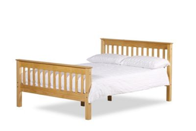 Happy Beds Somerset Waxed Pine Wooden Bed Spring Mattress 3ft Single