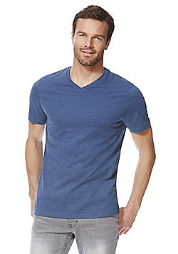F&F Marl V-Neck T-Shirt - Denim marl