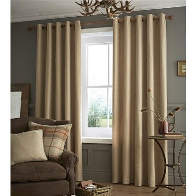 Catherine Lansfield Brushed Oatmeal Heritage Plain Curtains - 66x108 Inches (168x274cm)