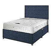 Happy Beds Signature Platinum 2000 Mattress Divan Bed Set Plain Headboard Midnight Blue