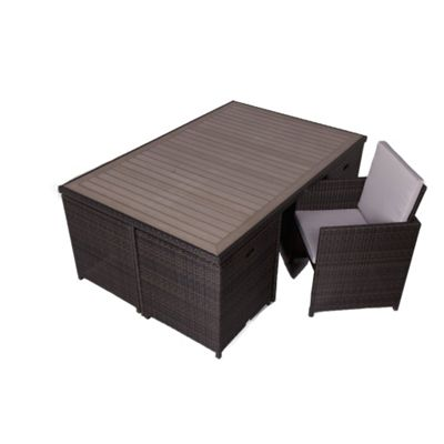 6 Seater Rattan Cube Garden Table and Chair Set With Plaswood Top & Cushions