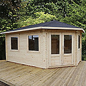 5m x 3m (17ft x 10ft) Sutton GRANDE Corner Log Cabin (Single Glazing) 34mm - Right Door Garden Cabin - Fast Delivery - Pick A Day