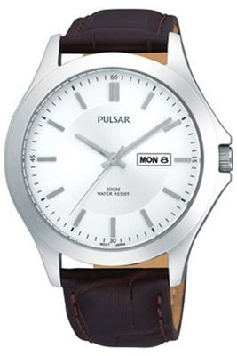 Pulsar Gents Brown Leather Strap Watch PXF289X1